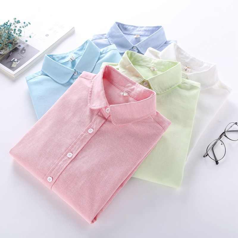 Nvyou 剛秋ブラウス 2019 女性長袖綿オックスフォードホワイトブルー固体ボタンダウンシャツエレガントなオフィスの女性のシャツ