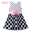 New Hot Polka Dot Sleeveless Pink Flower Girls Princess Dress 2-7Y Girls Retail Clothes