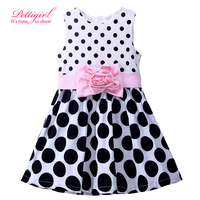 New Style Black And White Girl Dots Dress Fashionable Flower Belt Baby Summer Dresses Sleeveless Kids