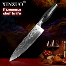 HIGH QUALITY XINZUO 8″ inch chef knife Japanese Damascus kitchen knife woman chef knife Color with wood handle free shipping