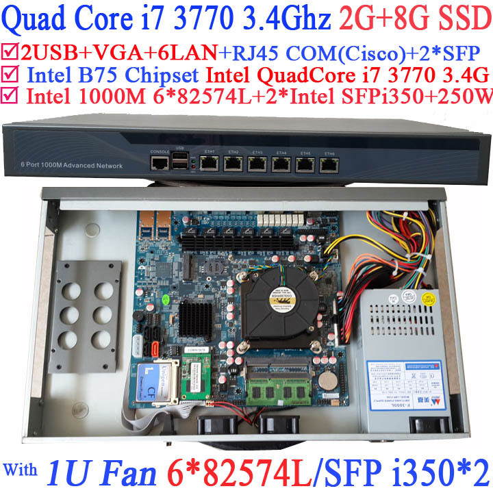 Quad Core i7 3770 Firewall router with 6 1000M 82574L Gigabit Nics 2 intel i350 SFP