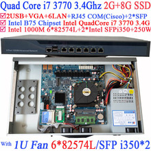 Quad Core i7 3770 Firewall маршрутизатор с 6*1000 М 82574L Гигабитные сетевые контроллеры 2 * intel i350 SFP 2 Г БАРАН 8 Г SSD