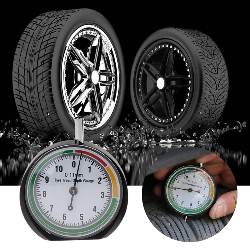 Car Tyre Tread Depth Gauge Trucks Van Tire Pointer Monitor Measure Device Tool