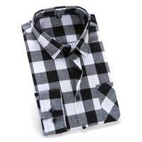 c6cc1a1e7a2 Мужская фланелевая клетчатая рубашка 100% хлопок 2019 Весна Осень  Повседневная рубашка с длинным рукавом мягкий