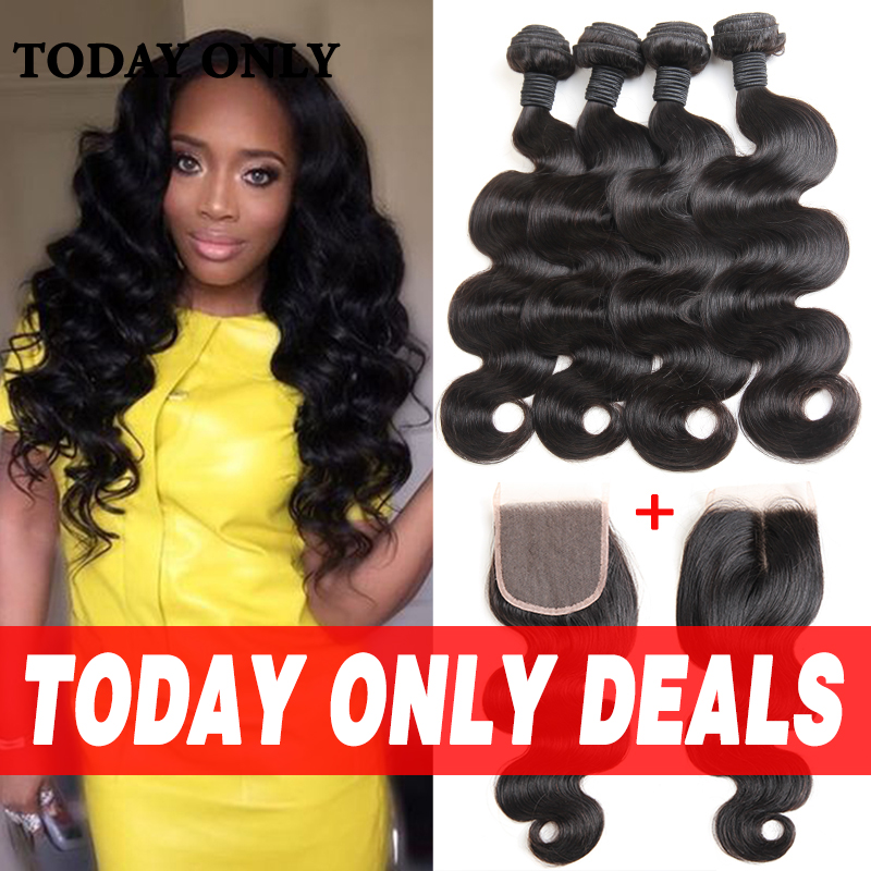 10A Mink Brazilian Virgin Hair 4 Bundles With Closure Brazilian Body Wave with Closure Best Human Hair Bundles with Lace Closure