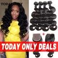 Queen Hair Бразильский Объемной Волны 4 Связки с Закрытием Tissage 10А Класс Virgin Необработанные Человеческих Волос Пучки с Lace Closure