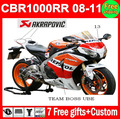100% Injection For HONDA CBR1000RR 08 Repsol 09 10 11 CBR 1000 1000RR CBR1000 RR 2008 Orange red black 2009 2010 2011 Fairing