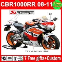 100% Injection For HONDA CBR1000RR 08 Repsol 09 10 11 CBR 1000 1000RR CBR1000 RR 2008 Orange red black 2009 2010 2011 Fairing