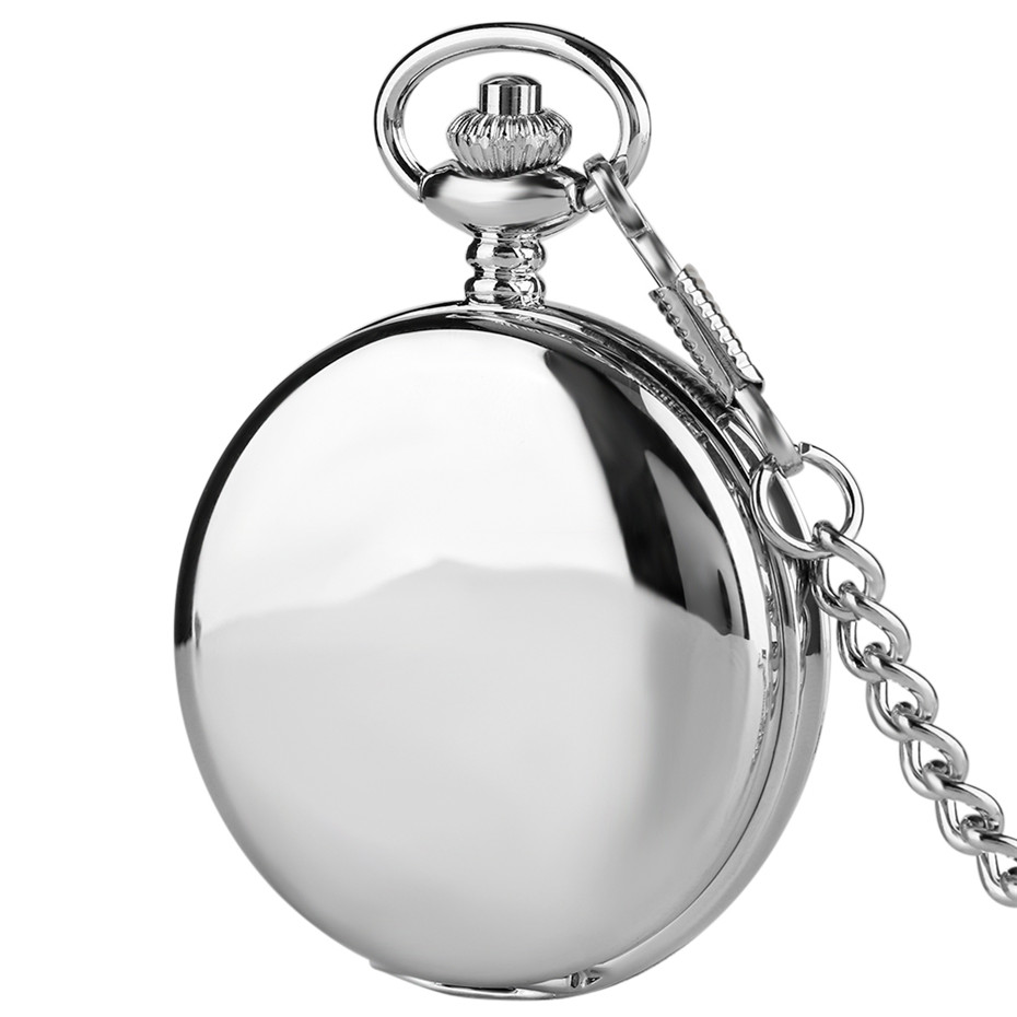 Silver Smooth Double Hunters Mechancial Pocket Watch Hand-Winding Pendant Pocket Clock Steampunk Fob Chains