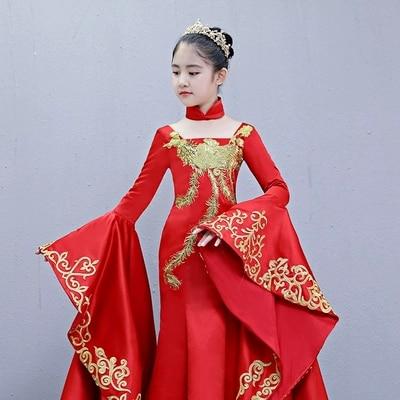 luxury children girl coronation cosplay dress red embroidery gown princess dress studio stage performance fairy wonderland