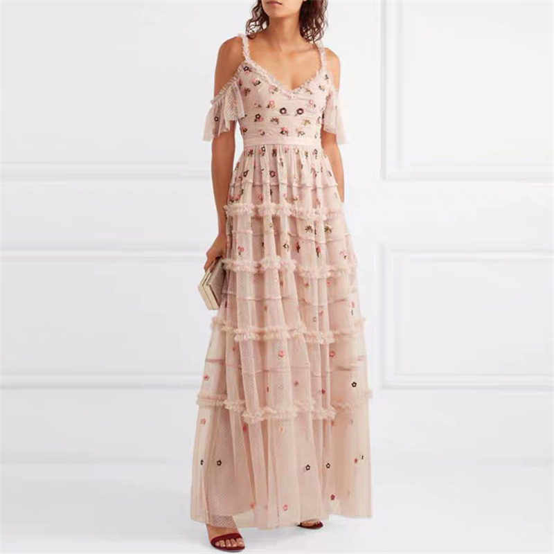 2019 Deisgner WOmen Dress Sexy Floral embroidery mesh Long Dress Cute V neck Spaghetti Strap Fit flare Pink Dress image
