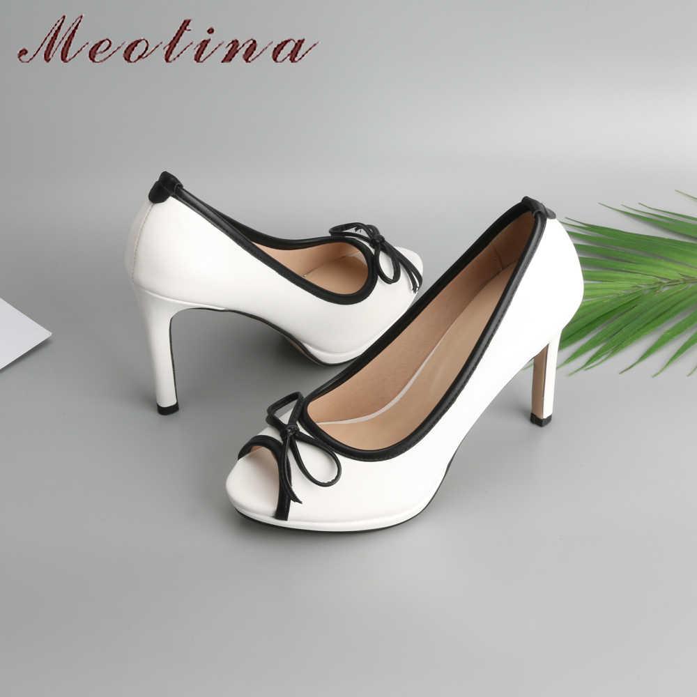 Meotina kobiety buty ślubne 2018 wiosna platformy wysokie obcasy buty pompy Peep Toe łuk biały poślizgu na seksowne buty damskie rozmiar 34-43
