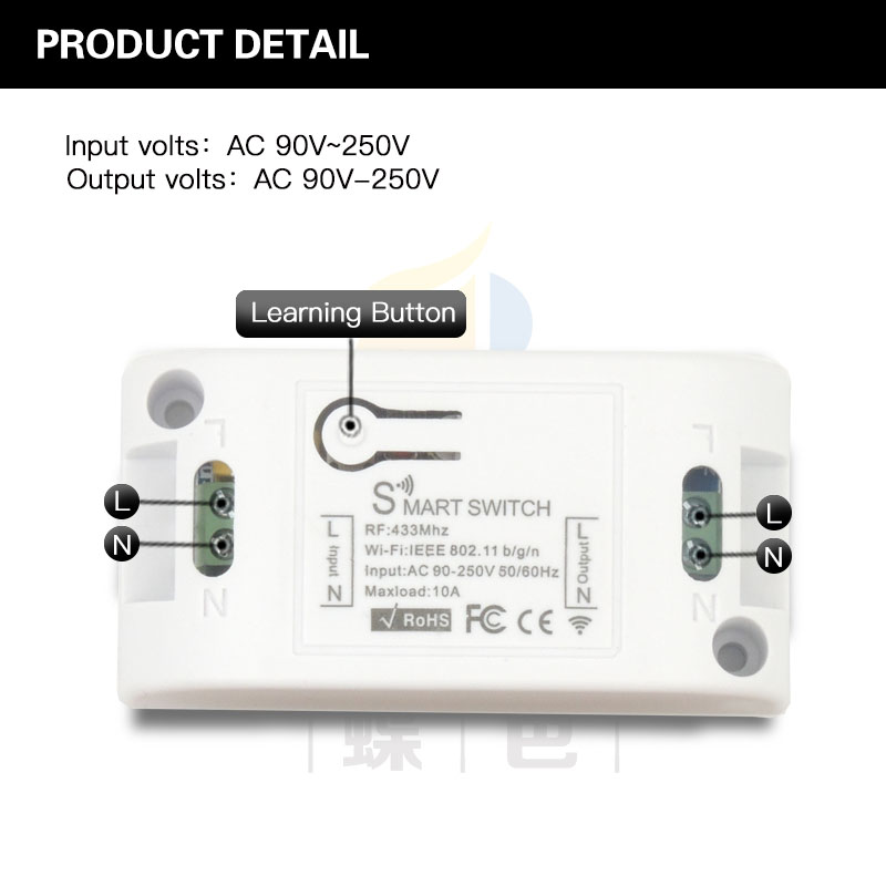 433MHz Universal Wireless RF Remote Controls Compatible with WIFI control AC 110V 220V 250V 10A 1CH via IOS Android Phone