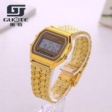 New Design LED Fashion Watches Coperation Vintage Womens Men dress watch Stainless Steel Digital Alarm Stopwatch Wrist Watch