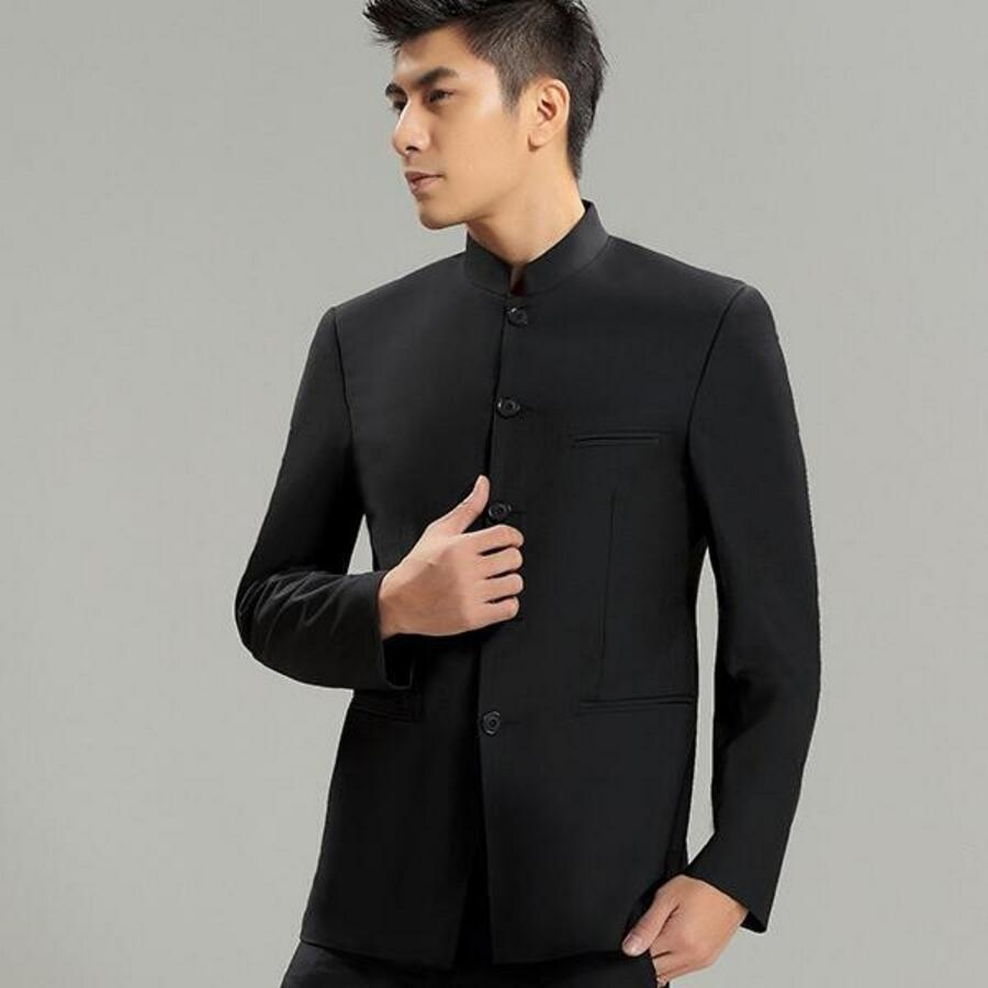 A Mandarin collar can be described as an erect, not too long collar which looks elegant - be it on suits, jackets or shirts. Mandarin collars are generally of five centimeters shooting behind the neck line.