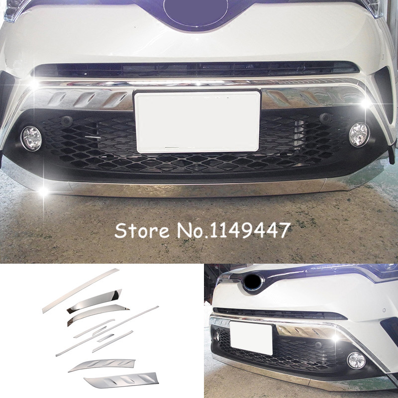 For Toyota C-HR Chr 2016 2017 2018 Car styling Exteriort Stainless Steel Front Bumper Protector Decorative Cover 10pcs stainless steel door lock decoration protection cover emblem case for toyota c hr chr 2016 2017 2018 accossories car styling