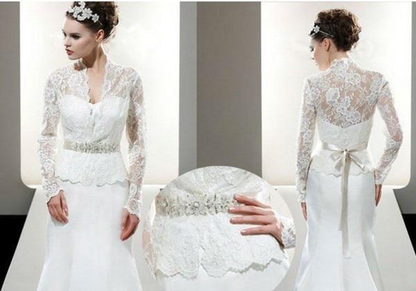 2016 white wedding jacket without belt long sleeve lace bridal bolero for brides sexy wedding accessories