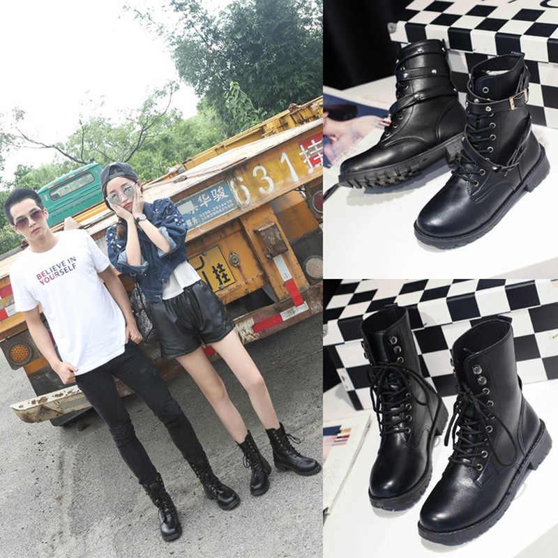 2019 moda kadın çizme Punk gotik tarzı Lace up yuvarlak ayak çizmeler kadın ayakkabıları kısa çizmeler sokak motosiklet botları mujer zapatos