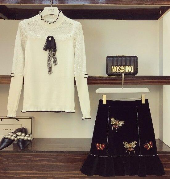 Longues Des Costumes pièce Deux Queue Femmes 2018 Blanc Dentelle Automne Chandail Manches À Nouvelle Poisson En De Mode Jupe Brodé Tricoté Velours RqqHwn0Bxf