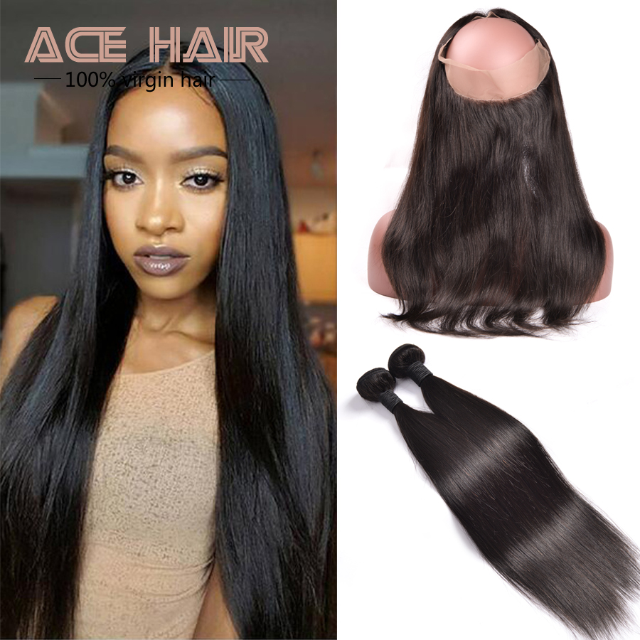 7A 360 Lace Frontal With Bundle Malaysian Straight Lace Frontals 360 Lace Frontal Closure With 2