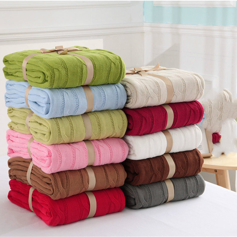 2017 High Quality Blankets 100 Cotton Beige Brown Green