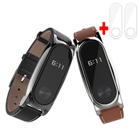 New Version Original Mijobs Leather Strap For Xiaomi Mi Band 2 Metal Leather Screwless Wristbands Replace