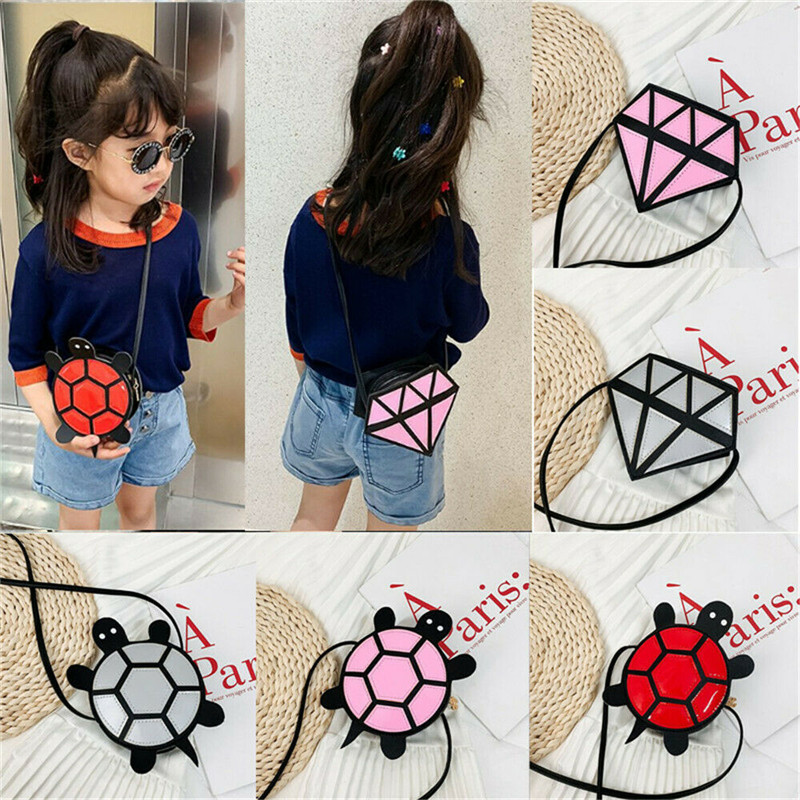 New Kids Children Girls Shoulder Bag Tortoise Diamond Shape Crossbody Handbag Baby Kids Cartoon Mini Coin Purses(China)