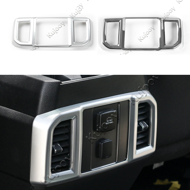 chrome silver auto interior accessories abs car rear row air conditioner vent frame trim. Black Bedroom Furniture Sets. Home Design Ideas
