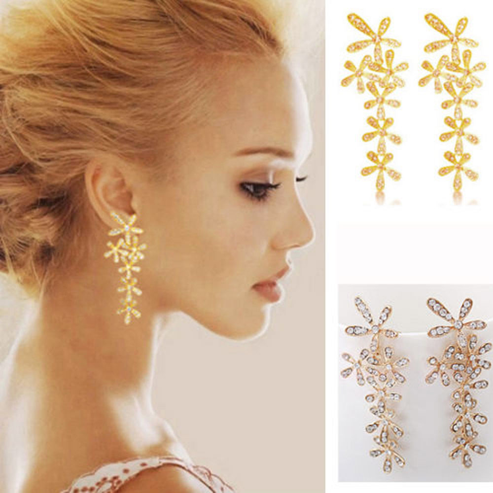 New Ladies Rhinestone Luxury Crystal Long Snowflake Flower Eardrop Golden Earrings Earstud 1 Pair Jewelry ...