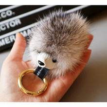 New fluffy cute hedgehog key ring leather Pom Pom mink key chain charm key chain handbag car pendant key holder A-001(China)