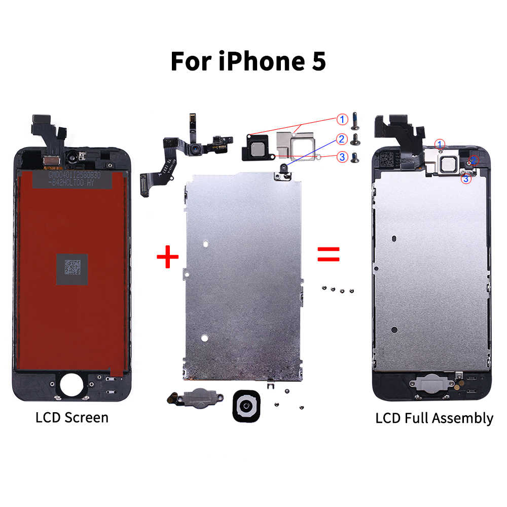 AAA + + LCD الجمعية الكاملة آيفون 5 5C 5s SE 6 7 8 Plus اللمس الزجاج عرض LCD محول الأرقام استبدال كاميرا أمامية سماعة الأذن