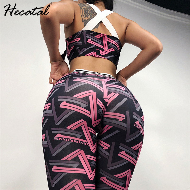 Hecatal 2PCS Women Sports Set For Fitness Running Gym Bras & Leggings High Stretch Geometric Patterns Matching Yoga Suits