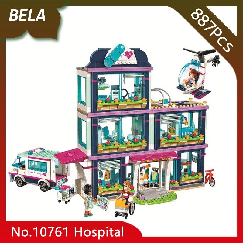 Bela 10761 887pcs Friends Series Heart Lake City Hospital Model Building Blocks Set Bricks Compatible 41318 Toys for Kids Gifts