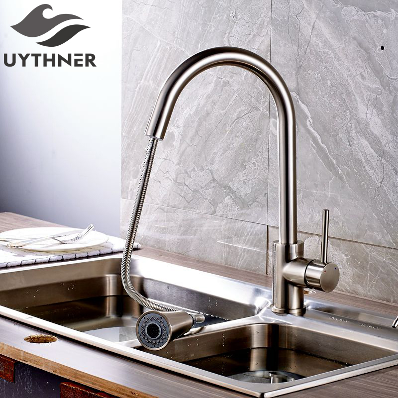 Uythner Brushed Nickel Deck Mounted Kitchen Faucet Mixer Tap with Gravity Ball Factory Direct Sale