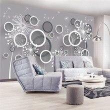 Пользовательские 3D принт стереоскопическая ткань для стен фрески матовый шелк для гостиной цветы круги обои с изображением одуванчика