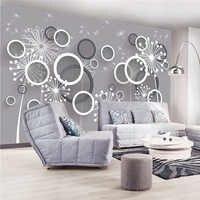Custom 3D Print Stereoscopic Fabric &Textile Wallcoverings For Walls Murals Matt Silk For Living Room Flowers Circles Dandelion