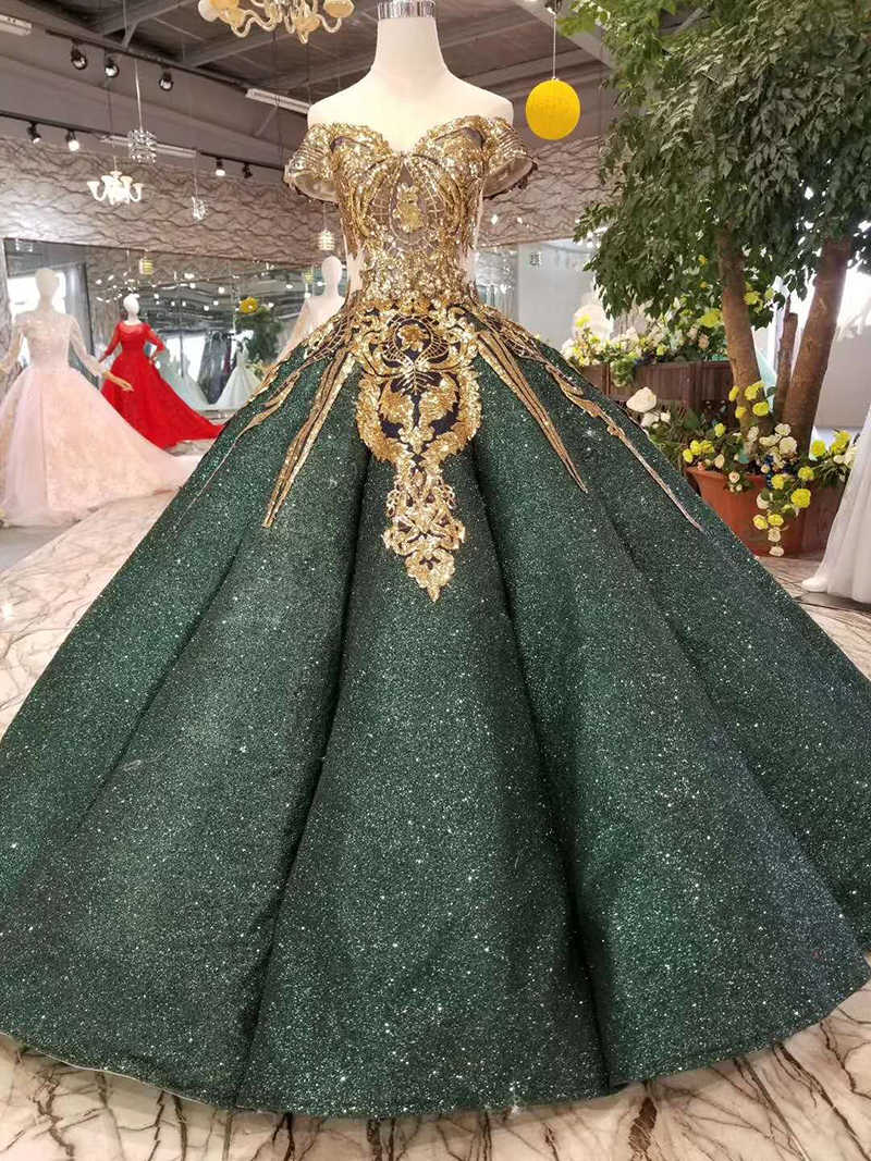 LSS167 יוקרה דובאי מבריק שמלות נשים אירוע כבוי כתף מתוקה זהב נצנצים כדור שמלות עקומת צורת כהה ירוק