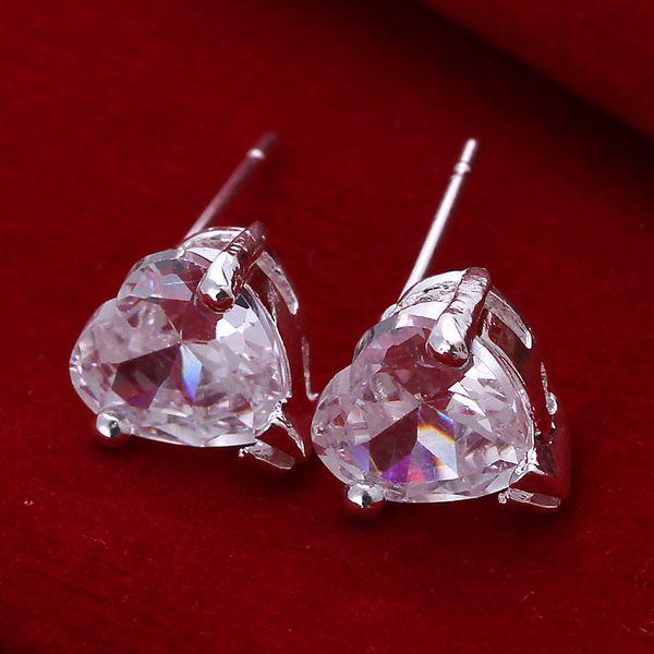Wholesale silver plated Earring,925 Jewelry silver earring,Heart With Stone Earrings SMTE087