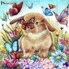 Huacan Full Square Diamond Painting Rabbit Embroidery Cross Stitch Animals Mosaic Butterfly Rhinestones