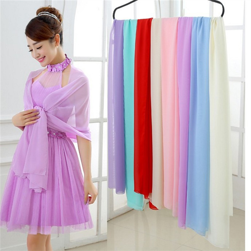 2018 Cause Women Chiffon Wraps and Shawl 200 45cm shawls for wedding Dress Long scarf Bridal Wraps for Evening Party Dress in Wedding Jackets Wrap from Weddings Events