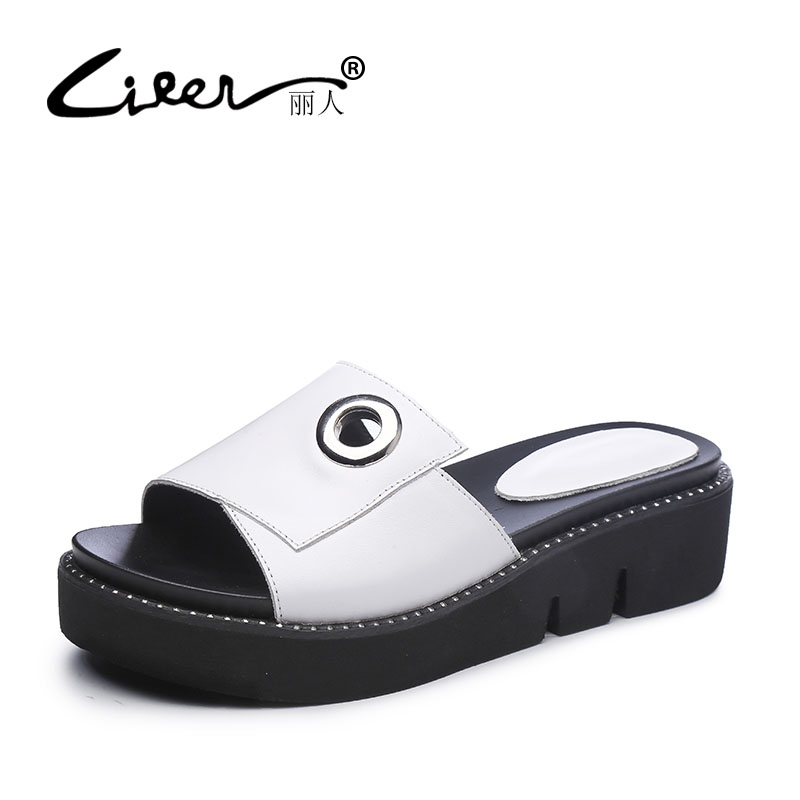 LIREN Brand Rhinestones Style Summer Genuine Leather Women Shoes Slippers Wedges Causal Genuine Cow Leather Flats Shoes Woman