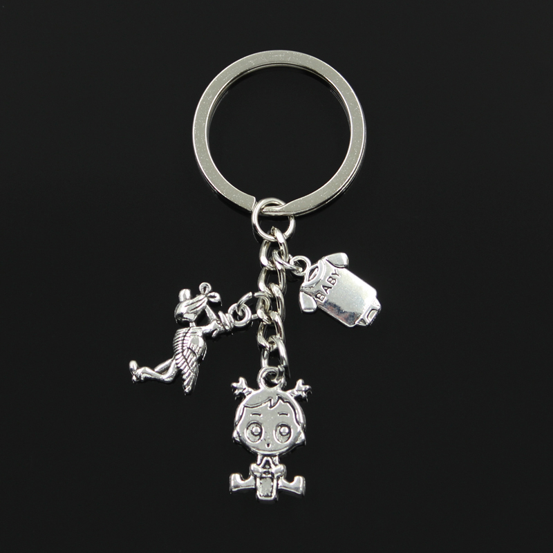Fashion 30mm Key Chain Keychain Jewelry Silver Color Stork Baby Girl Boy Onesie Coverall Pendant