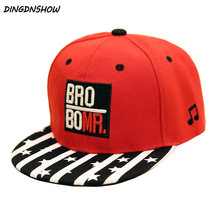 [DINGDNSHOW] 2019 Child Baseball Cap Embroidery Letters Cotton Hip Hop Cap Snapbacks Striped Kids Flat Hat for Boys and Girls цена