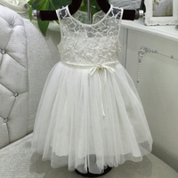Free Shipping Mid Calf 2 12 Years Girl Dress 2018 New Arrival Ivory Flower Girl Dresses