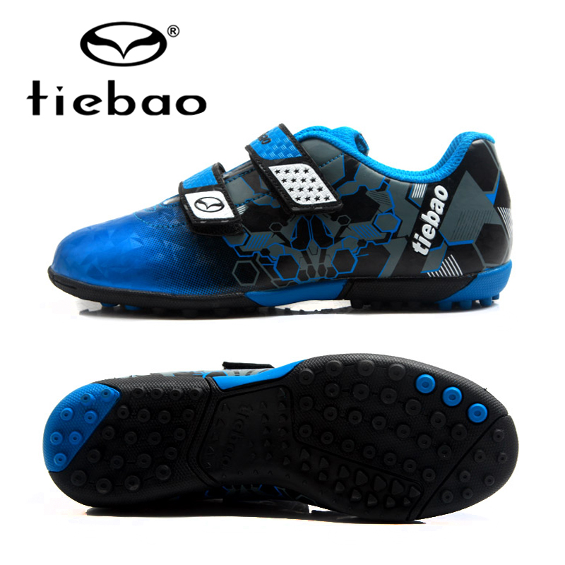 TIEBAO Kids Football boots TF Turf Soles Boys Girls Training Soccer Shoes Waterproof Anti-wear Sneakers Size 30-38 tiebao professional size 36 43 soccer shoes mens football training sneakers tf turf soles boots outdoor botas de futbol