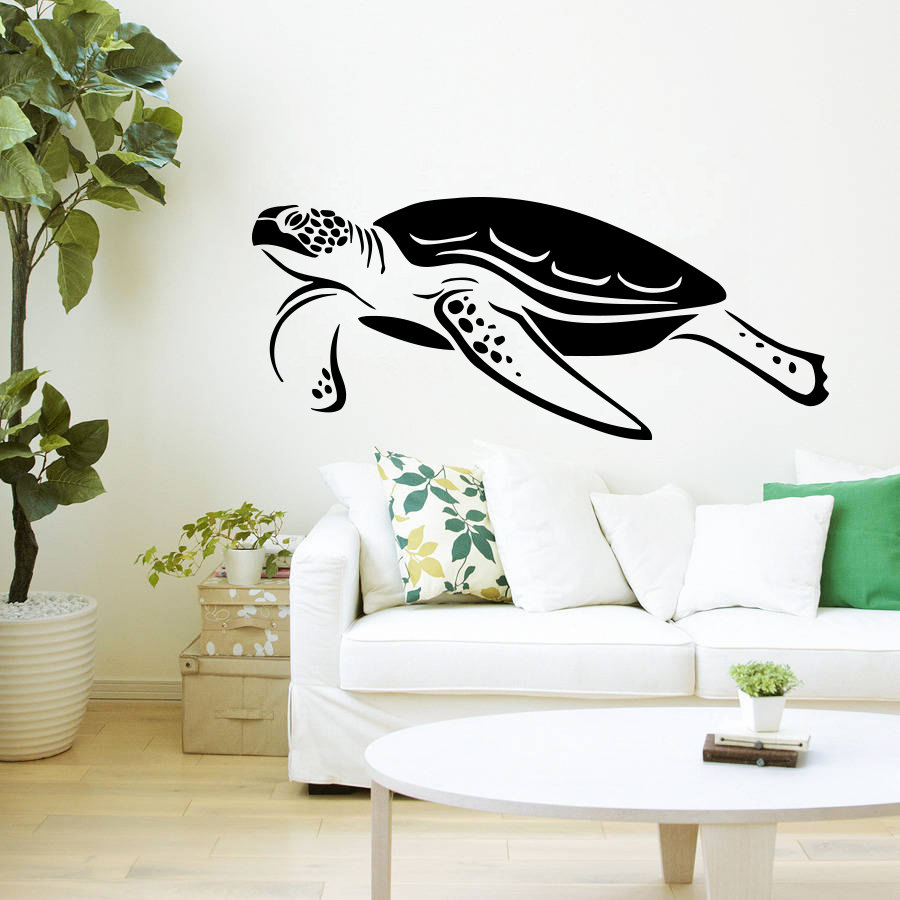 Sea Turtle Swimming Pattern Wall Murals