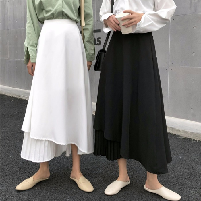 Irregular Chiffon A-line Skirt Korean Vintage Streetwear Solid White Black Skirt High-waist Stitching Pleated Long Chiffon Skirt