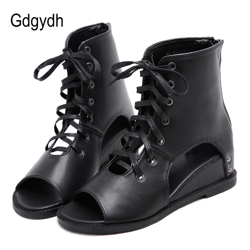 Gdgydh Open Toe Ankle Boots For Women Wedges Heel Shoes Female Rome Lace Spring Summer Soft Leather Student Shoes On School 2019-in Ankle Boots from Shoes    1