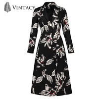 Vintacy Winter Coat Women 2018 Black Print Floral Single Breasted Female Overcoat New Fashion Spring Women Long Sleeve