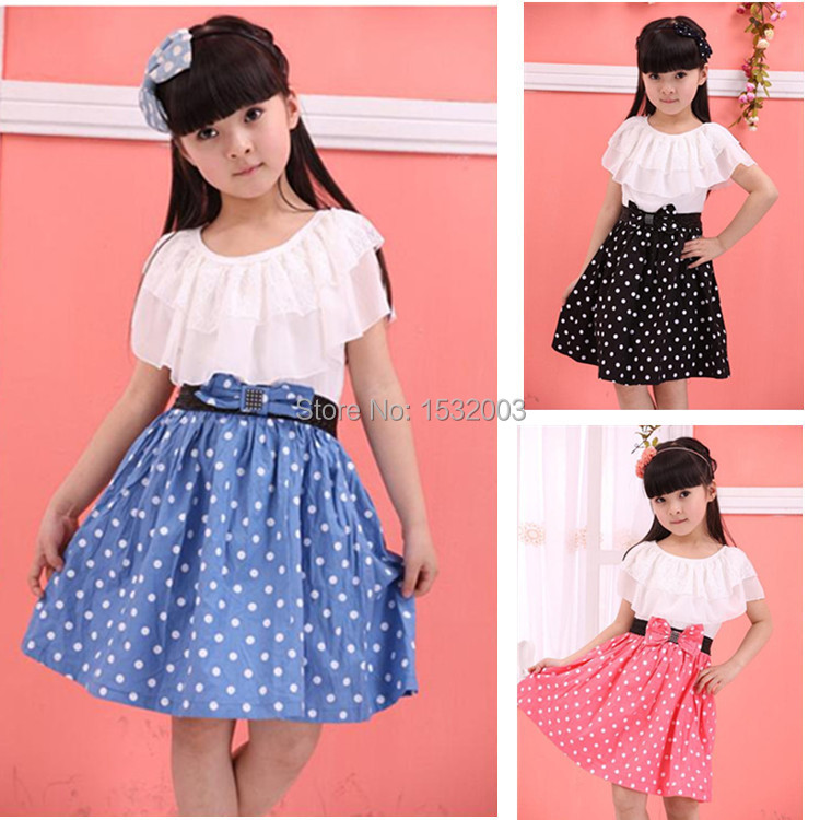 Teenage Girls Fashion Dresses Clothes For Teenagers Girl 2015 Lace Princess  Summer Vestidos Meninas Dot Teenage Girls Fashion 6396a263af59